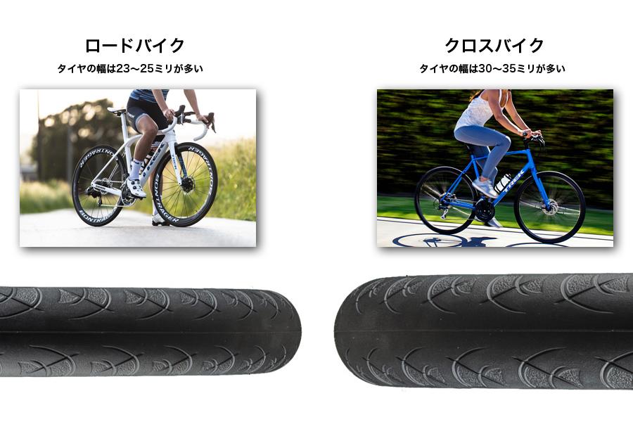 クロスバイクとロードバイクのタイヤ幅を比較